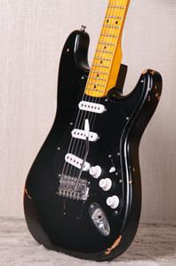 Özel Mağaza David Gilmour İmza Ağır Relic Siyah ST Elektro Gitar Kızılağaç Gövde, Vintage Krom donanım, Tremolo Tailpiece Whammy Bar