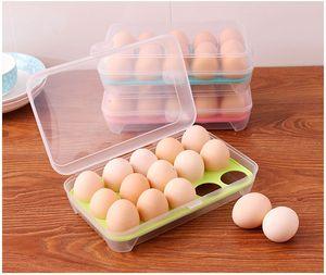 Refrigerador de cocina de una sola capa de alimentos 15 huevos Contenedor de almacenamiento hermético Contenedor de huevos de plástico portátil W7459