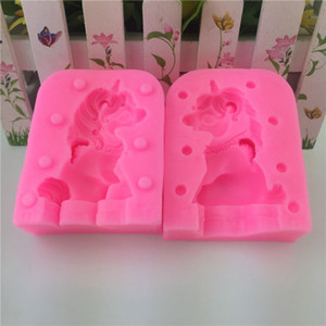 Cuisson des moules 3D Licorne Silicone Moule à Cake Fondant Moules Outil de Cuisson Outil Anti-Adhésif À La Main Chocolat Bonbons Moule Animal Moules