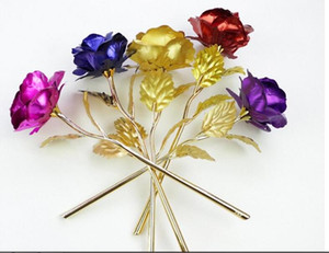 24k Gold Foil Plated Rose Gold rose Wedding Decoration Golden Rose Decor Flower flores artificiales para decoracion DHL free shipping