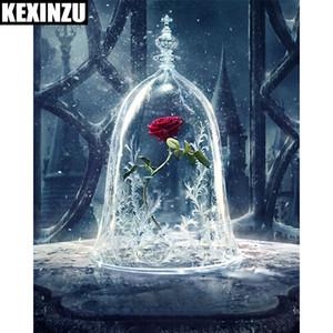 Kexinzu 5d اليدويه الماس اللوحة الأحمر روز زهرة المياه الجدار ملصق التطريز الكامل مربع الماس عبر غرزة حجر الفسيفساء اللوحة