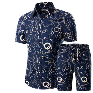 wholesale Men Shirts Shorts Set New Summer Casual Printed Hawaiian Shirt Homme Short Male Printing Sets Plus Size