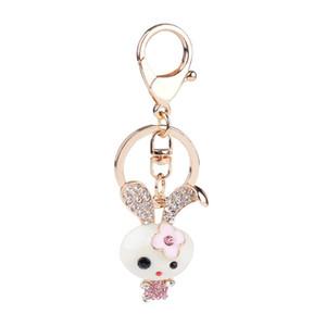 Kadınlar Çanta için Emaye Bunny Charm kolye Anahtarlık Süper Sevimli Temizle CZ elmas taklidi Altın Renk Metal Anahtarlık Zinciri Takı
