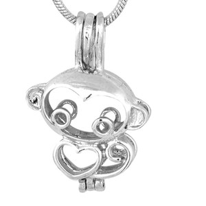 18kgb Funny Monkey Pearl Cage Pendants Oyster Lockets For DIY Wish Love Pearl Good Gift Women P87