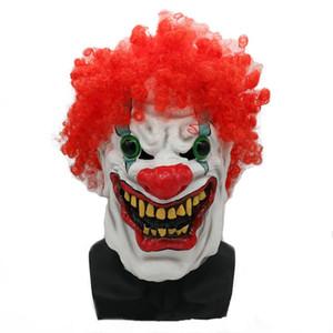 Hanzi_masks ¡CALIENTE! Máscara de Halloween Scary Clown Latex Full Face Mask Boca grande Red Hair Nose Cosplay Máscara de terror Máscara Ghost Party