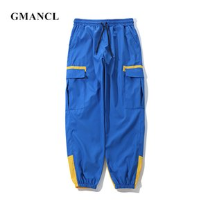 GMANCL Männer Farbe block stitching Multi-tasche Elastische Taille Casual Cargohose Streetwear Männliche Lose Gerade Jogger Jogginghose