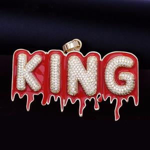 Jóias Hip Hop Custom Name Red Oil Esmagamento da bolha Drip carta Cadeia Colares Pendant Zircon de Homens com corda cadeia