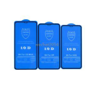 100PCS 10D Protecteur d'écran Full Cover 9H en verre trempé de protection d'écran en fibre de carbone pour iPhone X 6 6s 7 8 Plus Xs Max