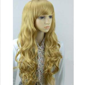 Moda parrucca capelli lunghi biondi ondulati biondi ricci ondulati Parrucca Cosplay Parrucche + Cappellino per parrucca