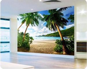 papel pintado de la foto Papel de pared de alta calidad 3d isla de playa de Palma de mar Travel TV sofá telón de fondo dormitorio mural de la pared grande fondo de pantalla