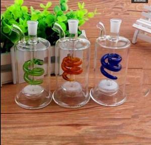 Цветная спиральная песчаная сердцевина стеклянная бутылка с водой