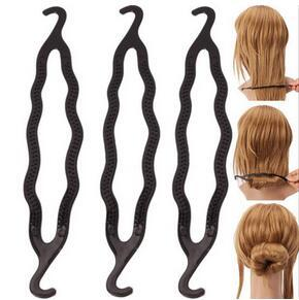 600pcs / lot bricolage tirez le crochet cheveux bourgeon comme style de cheveux Bun Maker en plastique noir double crochet accessoires cheveux accessoires outils livraison gratuite