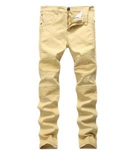 Erkek Punk Tarzı Haki İnce Biker Jeans Sokak Pileli Tasarım Denim Pantolon Sıska Stretch Uzun Ripped Jeans tahrip