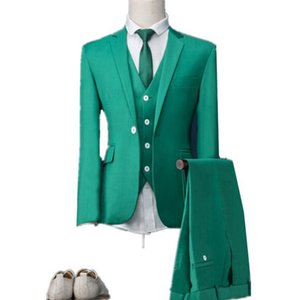 Slim Fit Green Three Piece Groom Tuxedos Notch Lapel One Button Man Wedding Suit Men Business Dinner Prom Blazer(Jacket+Pants+Tie+Vest) 429