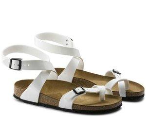 Nova Marca Famosa Arizona Sandálias de Salto Plano Classcis Mulheres Sapatos Casuais Confortáveis Dupla Fivela de Verão de Alta Qualidade Chinelos De Couro Genuíno
