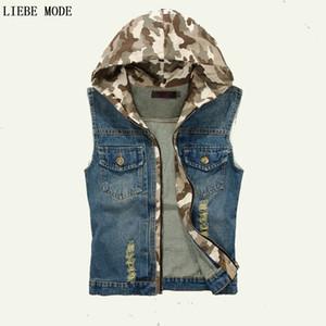 Männer Denim Weste Sleeveless Jean Jacke Camouflage Kapuze Korean Fashion Mens Denim Weste Jeans Chaleco Hombre