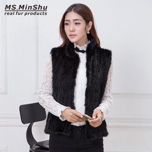 MS.MinShu Hand Knitted Подлинная меховой жилет Женщины Меховой жилет с молнией Леди Жилет Теплая Регулярная длинная на заказ Бесплатная доставка