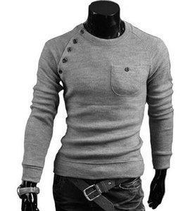 Mode Pull d'homme O-cou solide de couleur unique de poche design à manches longues Pull de haute qualité Drop Shipping