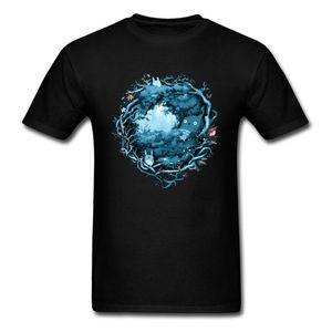 Blue Grey Mens Camisa Curta Floresta Espíritos Totoro T Shirt Para Homens Hiphop Escuridão Ambiente T-Shirt Dos Homens Anime Streewear Tees