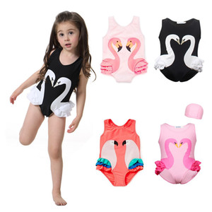Flamingo Girls swimsuit Kids Swan Swim Suit Baby Cap Boy Child One Piece Swimwear for Children Cartoon Printed Parrot