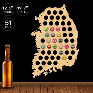Republic Of Korea Beer Cap Map Display Holder Man Cave Wooden Korea Decor Asian Map Of Korea Beer Bottle Cap Beer Lovers Gift