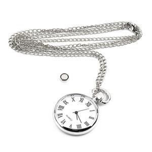 Long lien chaîne collier poche Fob montres Vintage argent pendentif rond style de mode montre pour Dropshipping