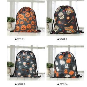 Decoraciones de Halloween Halloween Bolsas de mano Draw Draw Handle Pumpkin Bolsas de compras Festival Gifts Bag Bolsa de tela no tejida de Halloween