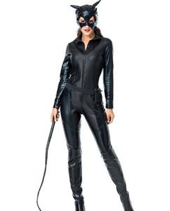 2018 invierno de cuero de las mujeres traje de Halloween gato niña juego de rol cosplay gato chaqueta de cuero mono espectáculo nocturno rendimiento
