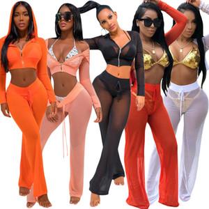 Seksi Perspektif Mesh 2 Parça Kadın Pantolon Set Moda Kapşonlu Fermuar Kısa Ceket Tops + Uzun Pantolon Plaj Gece Kulübü Kıyafetler See Through