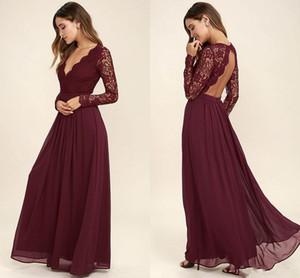 Borgoña gasa vestidos de dama de honor mangas largas estilo occidental del país con cuello en v sin espalda larga de encaje Top vestidos de fiesta de la boda barato