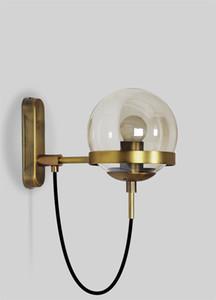 Applique in stile americano Hotel lobby Concise ristorante americano moderno retrò Lampada da parete in vetro cognac
