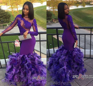 2018 Africano Sirena Prom Dresses Viola Manica Lunga Sheer Neck Appliques A file Organza Sweep Train Arabo Evening Party Abiti Plus Size