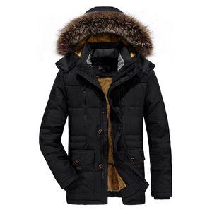 ICPANS Parka Veste Hommes Longs De Fourrure D'hiver Parka Hommes Manteaux Plus Chaud Noir Zipper Veste Hommes Plus La Taille XXXL 4XL 5XL 6XL