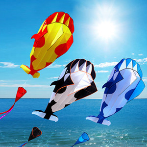 3D Kite Huge Giant Whale Flying Kite Beach Easy to Fly Frameless Soft Parafoil Sports Beach Kite with 30m Flying Line Gift