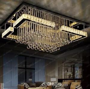 Alta calidad moderna lámpara de cristal LED lámpara de araña rectangular lustre luces de la sala de estar envío gratis LLFA