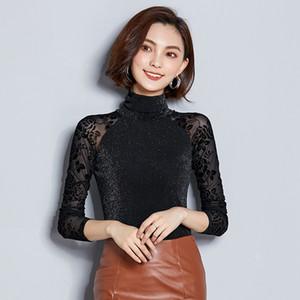 BIBOYAMALL 2018 Весна сетки блузка Новая Женская одежда вышивка печати рубашка с длинным рукавом женщины топы 3XL