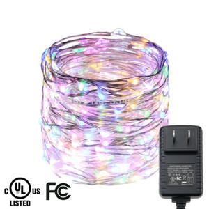 15 메터 300LED 실버 와이어 유선 여러 가지 빛깔의 LED 문자열 조명 장식 야외 크리스마스 요정 조명 + 인증 UL / CE 어댑터