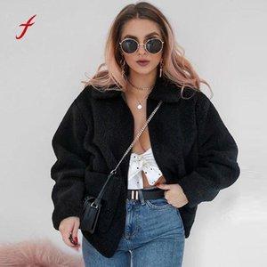 Feitong 2018 nuevas mujeres Casual solapa abrigo de manga larga Fuzzy Fleece Outwear chaquetas con bolsillo manteau femme hiver venta al por mayor