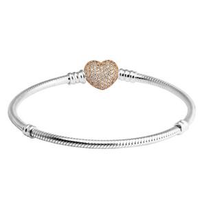 Convient Pandora Perles bracelets d'argent pour femmes cz or rose Coeur fermoir serpent chaîne Bracelets bricolage mode en argent 925 Bijoux