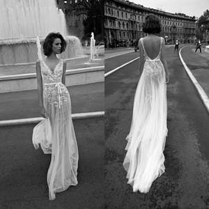 Liz Martinez Luxo Lace Floral Praia Boho Vestidos De Casamento 2018 Com Decote Em V Sem Costas Barato Livre Pessoas Bohemian Rua Vestido De Noiva
