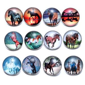 12 pçs / lote Cavalo Tema Encantos De Vidro 18mm Botão Snap Jóias Para 18mm Snaps Pulseira Snap Jóias KZ0677