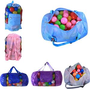 أطفال شاطئ لعب التخزين شبكة حقيبة شل الحقيبة حقيبة محمولة قابلة للطي لعب تلقى المرامل حقيبة يد حقيبة الظهر 24 * 48cm ومنظم للأطفال