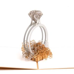 Großhandel Laser Cut 3D Ring Pop-up Hochzeitseinladungen Romantische Handmade Valentinstag für Liebhaber Postkarte Gruß Geschenkkarte