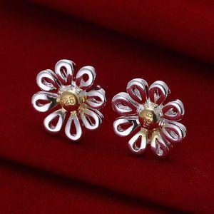 Fine 925 Sterling Silver Earring, XMAS Trendy New Style 925 Silver crisantemo ear butyl Para mujeres joyería de moda Enlace Italia Lovely XE013