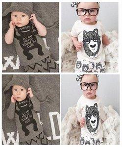 20 set bambino ins fox stripe lettera si adatta bambini bambino neonato casual breve manica lunga t-shirt + pantaloni 2 pz set pigiama neonato abiti Y179