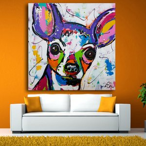 RELIABLI Cópias da arte animal Pôsteres Cão bonito colorido da lona pintura de parede decoração moderna chihuahua tela grossa multi tamanhos