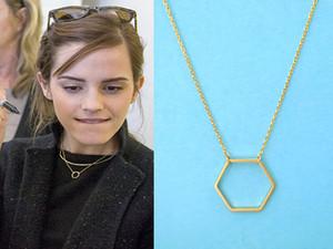 Hfarich collar de hexágono geométrico para las mujeres simple minimalista llano collar de la joyería de cadena larga dropshipping regalos al por mayor