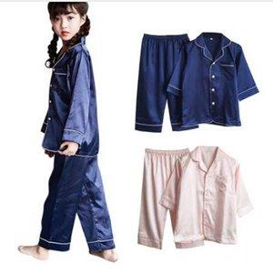 2 шт./компл. Лето Осень девушки мальчики шелковые пижамы пижамы мягкое нижнее белье пижамы для детей Дети новый