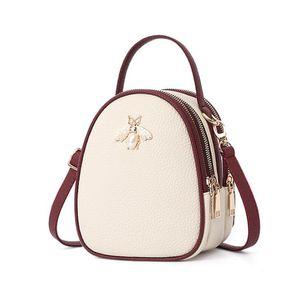 New Lovely bee leather crosbody para mujer Summer Girl Fresh Small Round Shoulder Bag Muñeca Bolso Moda Mujeres Messenger Bags