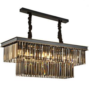 LED Rauchgrau K9 Crystal Black Kronleuchter rechteckige kreative Persönlichkeit Esszimmer Lampe bar Kronleuchter Deckenleuchte im Restaurant zu essen